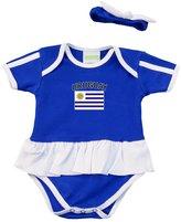 PAM baby girl blue Uruguay Ruffled bodysuit