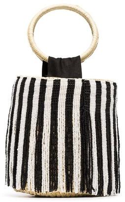 Sensi Beaded-Stripes Straw Bucket Bag