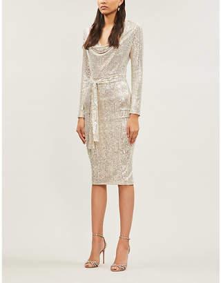 Lavish Alice Cowl-neck sequin-embellished stretch-jersey midi dress