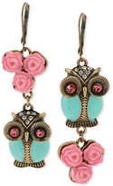Betsey Johnson Gold-Tone Owl Mismatch Earrings
