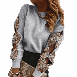 ADYD Women's Stylish Sequin Bowknot Hollowed Out Long Sleeve Knit Pullovers Ladies Soft Sexy Blouse (Grey M)
