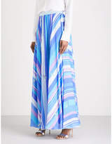 Emilio Pucci Striped hammered-silk maxi skirt