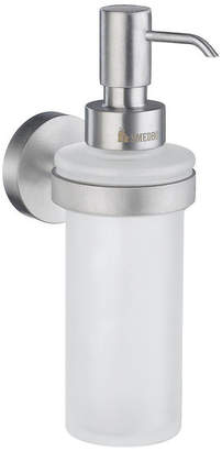 Smedbo Home Wall Frosted Glass Soap Dispenser w Brushed Chrome Hardware