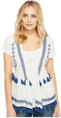 Steve Madden Women's Embroidered Cotton Peplum Vest
