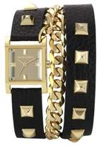 Vince Camuto Women's Square Gold-Tone Double-Wrap Black Leather Strap Watch