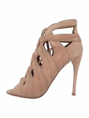 Alaia Suede Cutout Accent Sandals Pink