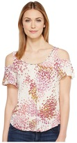 Lucky Brand Floral Cold Shoulder Top Women's Short Sleeve Pullover