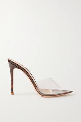 Gianvito Rossi 105 Pvc And Leopard-print Patent-leather Mules - Clear