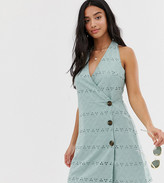 Asos DESIGN Petite palm broderie wrap halter mini sundress with side buttons