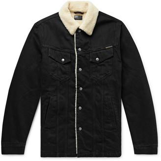 Nudie Jeans Lenny Faux Shearling-Lined Organic Denim Trucker Jacket
