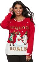 """It's Our Time Juniors' Plus Size #Squad Goals"""" Holiday Sweater"""