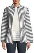St. John Stretch-Linen Stripe Twill Drawstring Jacket