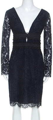 Diane von Furstenberg Navy Blue Lace Viera Cocktail Dress M
