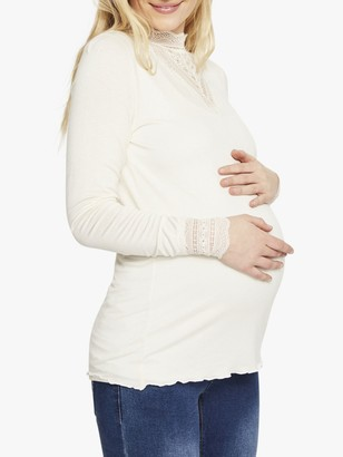 Mama Licious Mamalicious Reese Long Sleeve Jersey Top, Whisper White