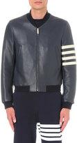 Thom Browne Signature-stripe Leather Bomber Jacket