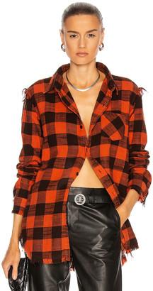 R 13 Shredded Seam Shirt in Buffalo & Red | FWRD