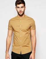 Asos Skinny Shirt In Camel With Grandad Collar And Short Sleeves