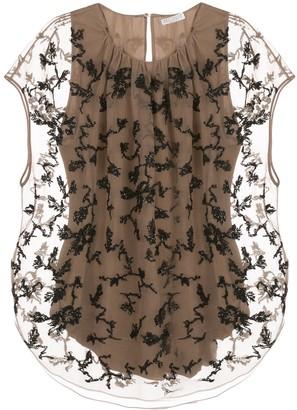 Brunello Cucinelli Bead-Embroidery Silk Blouse