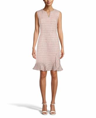 Anne Klein Women's Sleeveless Ruffle Hem Tweed Sheath Dress