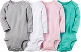 Carter's Baby Girls 4 Pack Long Sleeve Bodysuits (Solids)