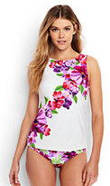 Classic Women's Long High-neck Tankini Top-Light Fuchsia Italian Floral