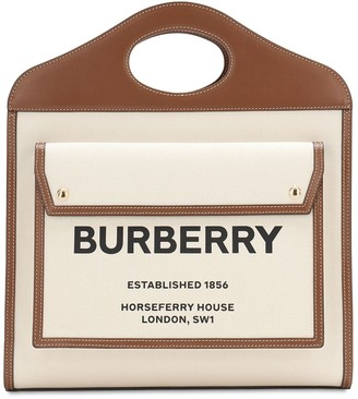 Burberry Medium Logo Canvas & Leather Tote