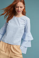 Anthropologie Ruffle Bell-Sleeved Blouse