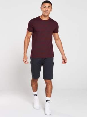 Very StripedCrew Neck T-Shirt - Burgundy/Navy