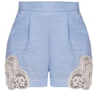 Cliché Reborn Blue High Waist Linen Shorts With Lace Embellishments
