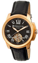 Heritor Automatic Franklin Mens Semi-Skeleton Leather-Rose Gold/Black Watches