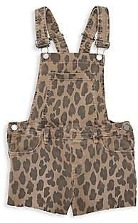 Blank NYC Girl's Leopard-Print Denim Shortall