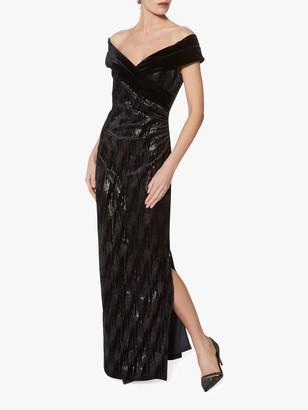 Gina Bacconi Elitsa Sequin Velvet Dress, Black
