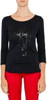 Armani Jeans Aj Jersey Sequin 3/4 Sleeve Top