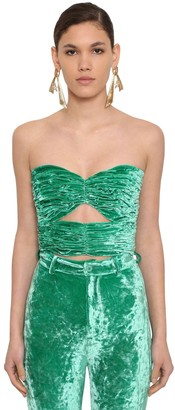 ATTICO Strapless Draped Stretch Velvet Top