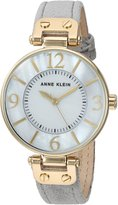 Anne Klein Women's Quartz Metal and Leather Dress Watch, Color:Grey (Model: AK/2738GMGY)