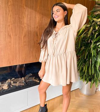 ASOS DESIGN Petite tiered long-sleeved smock dress in camel