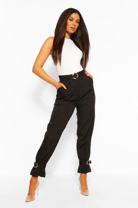 boohoo Belted Ankle Tie Slim Fit Trousers