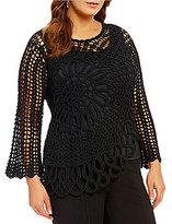 Multiples Plus Tape Yarn Crochet Asymmetrical Hem Sweater