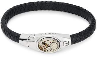 Tateossian Sterling Silver & Leather Braided Bracelet
