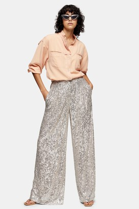 Topshop Womens Idol Sequin Wide Leg Trousers - Silver