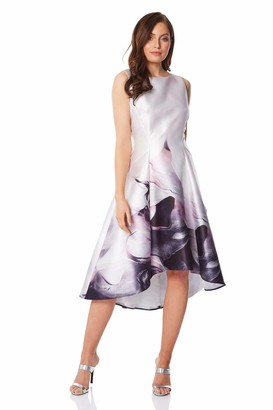 Roman Originals Women Marble Print Dipped Hem Dress - Ladies Round Neck Sleeveless Floral Print Special Occasion Wedding Guest Mother of The Bride Groom Outfit Vintage Dresses - Pink - Size 12