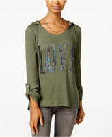 Miss Chievous Juniors' Love Sequin Waffle-Knit Hoodie Tunic