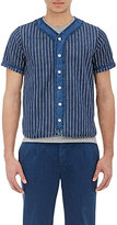 Visvim Men's Striped Baseball Shirt-BLUE