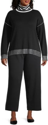 Joan Vass, Plus Size Mockneck Stripe Knit Sweater