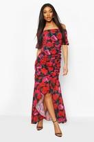 boohoo Floral Print Off The Shoulder Maxi Dress