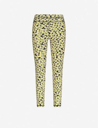 Adam Selman Sport High-rise daisy-print stretch-woven leggings