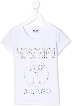 MOSCHINO BAMBINO embellished logo T-shirt