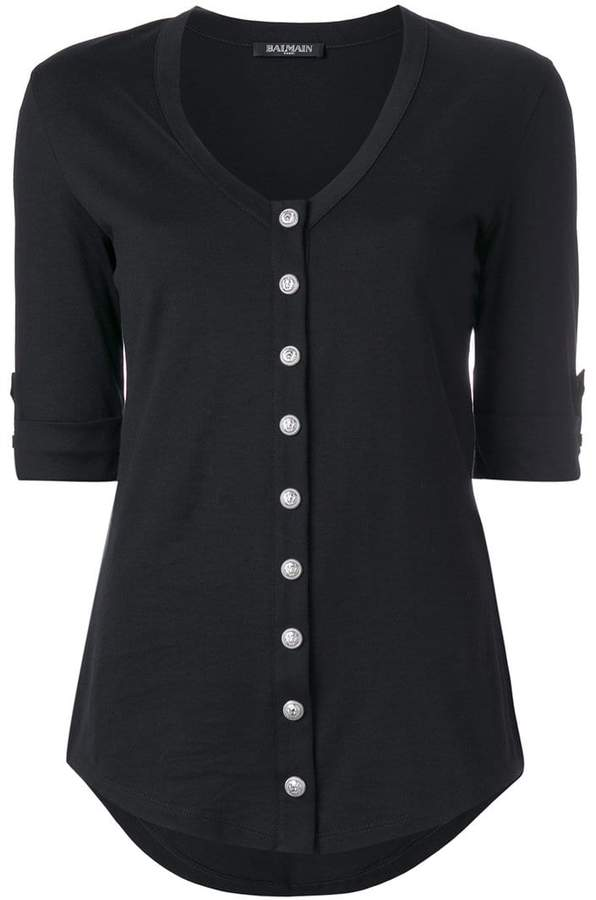 Balmain button front jersey top