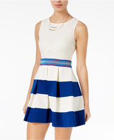 Speechless Juniors' Lace Striped Fit & Flare Dress