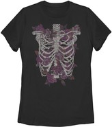 Unbranded Juniors' Flowers Inside Ribcage Distressed Graphic Tee